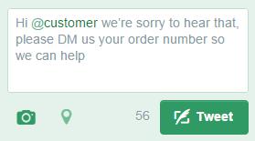 """Esta resposta, com """"Hi"""" na frente usuário """"customer"""", irá aparecer em todas os feeds."""